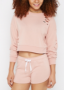 Torn Cropped Sweatshirt