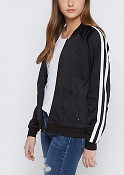 Black Athletic Striped Track Jacket