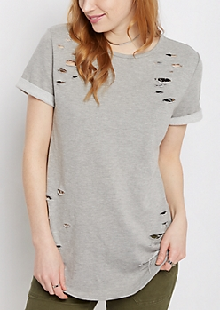 Destroyed Tunic Sweatshirt Tee