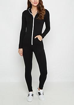 Black Hooded Zip-Down Jumpsuit
