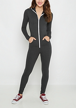 Charcoal Hooded Zip-Down Jumpsuit