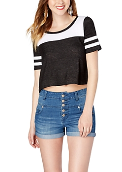 Black Cropped Athletic Tee