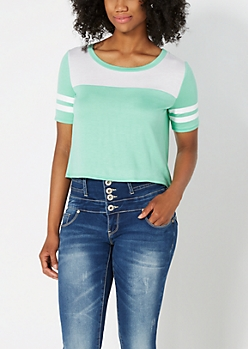 Light Green Cropped Athletic Tee