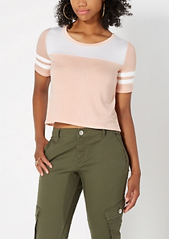 Peach Cropped Athletic Tee