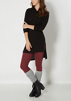 Brushed Black Hooded Tunic Top