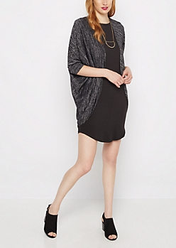 Black Marled Knit Cocoon Wrap