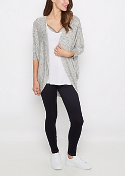 Gray Marled Knit Cocoon Wrap