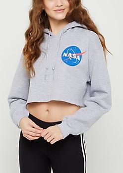 NASA Logo Crop Hoodie