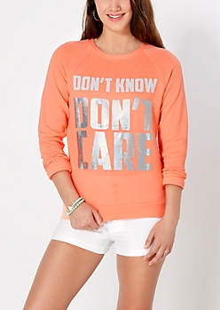 Don't Care Slash Back Sweatshirt