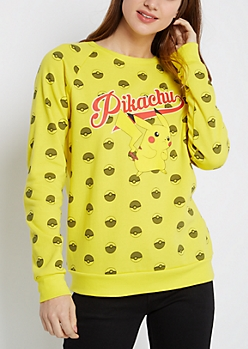 Yellow Pikachu Crew Neck Sweatshirt