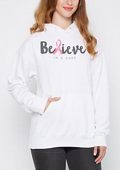 Believe Pink Ribbon Fleece Hoodie