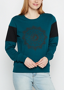 Zodiac Wheel Quilted Sleeve Sweatshirt
