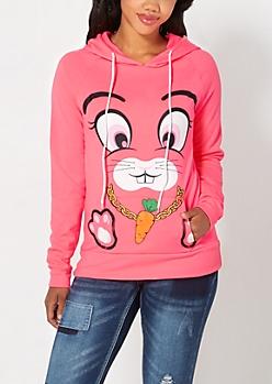 Carrot Chain Bunny Fleece Hoodie