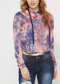 Tie Dye Drop Shoulder Funnel Neck Cropped Hoodie