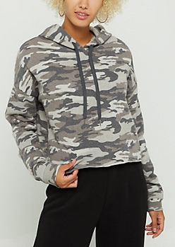 Heather Gray Camo Crop Hoodie
