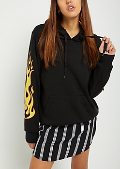 Flamed Sleeve Oversized Fleece Hoodie