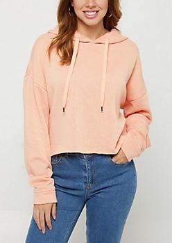 Pink Mineral Wash Crop Hoodie