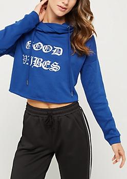 Good Vibes Foil Crop Hoodie