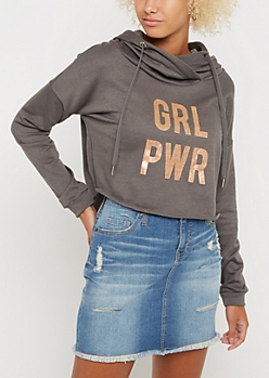 GRL PWR Foil Crop Hoodie