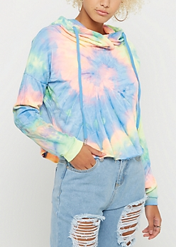 Multi Bright Tie Dye Crop Hoodie