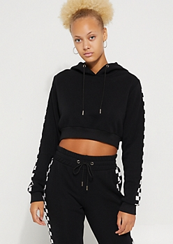 Black Checkered Sleeve Crop Hoodie