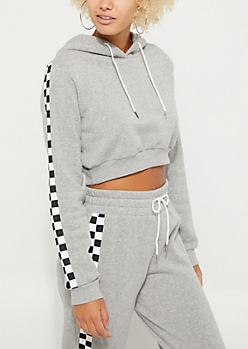 Gray Checkered Sleeve Crop Hoodie