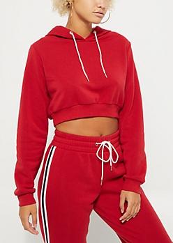 Red Striped Crop Hoodie