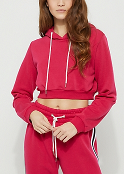 Dark Pink Striped Crop Hoodie