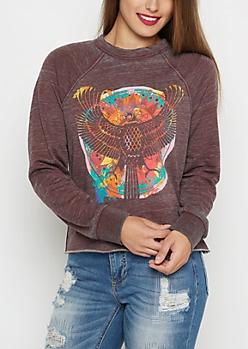 Paint Splatter Eagle Emblem Raglan Sweatshirt