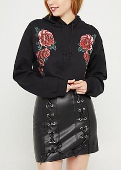 Black Rose Crop Hoodie