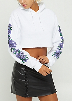 Purple Rose Crop Hoodie
