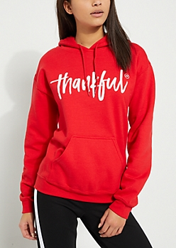 Red Thankful AF Fleece Hoodie