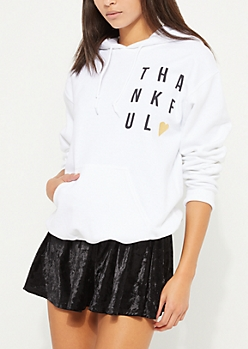 White Thankful Heart Fleece Hoodie