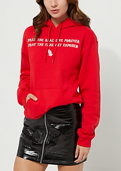 Red Pray The Real Live Fleece Hoodie