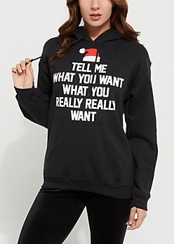 Black What You Really Want Santa Fleece Hoodie
