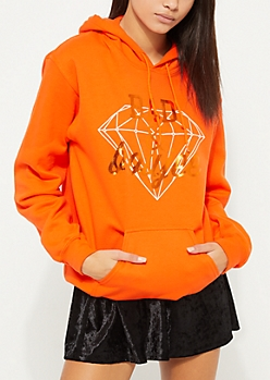Bad And Boujee Diamond Orange Hoodie