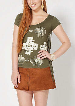 Light Olive Western Desert Fringed Tee