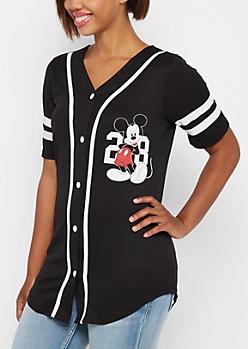 Black Mickey Mouse Baseball Jersey