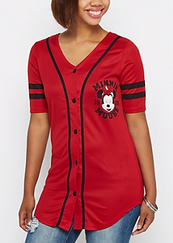Red Minnie Mouse Baseball Jersey