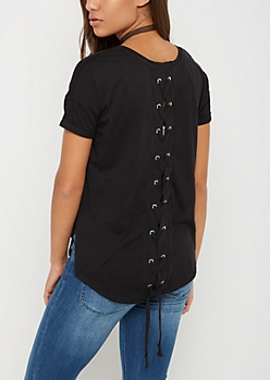 Hearts to Break Lace Up Tee