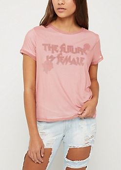 The Future Is Female Mesh Layered Tee