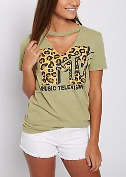 MTV Leopard Cutout Tee
