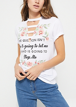 White Short Sleeve Floral Stop Me Caged Tee