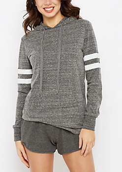 Charcoal Gray Marled Athletic Hoodie