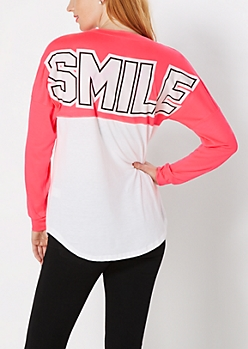 Smile Vibrant Pink Blocked Top