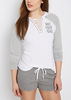Not Your Bae Hooded Raglan Top