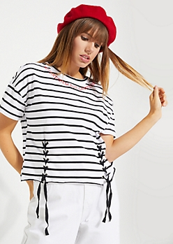 Black Striped Not Like Them But I Can Pretend Lace-Up Crop Top