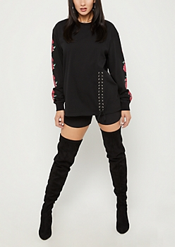 Rosy Lace Up Long Sleeve Shirt