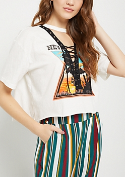 Nevada Desert V-Neck Lace Up Crop Tee