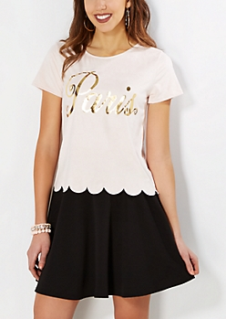 Paris Scalloped Faux Suede Tee